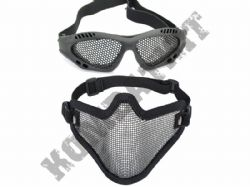Metal Mesh airsoft safety glasses and lower face steel wire mesh mask bundle black